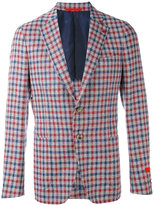 Isaia checked blazer - men - Silk/Linen/Flax/Cupro/Wool - 48