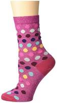 Paul Smith Lurex Polka Dot Sock (Pink) Women's Crew Cut Socks Shoes
