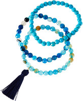 Panacea Beaded Stone Bracelets w/ Tassel, Set of 3, Blue Multi