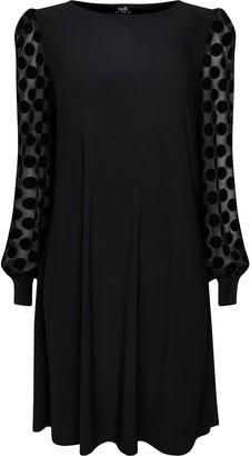 Wallis Black Mesh Spot Print Puff Sleeve Dress