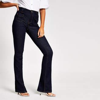 River Island Dark blue high rise bootcut jeans