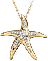 Macy's Diamond Starfish Pendant Necklace in 14k Gold (1/10 ct. t.w.)