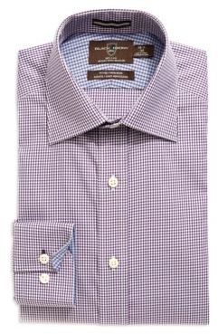 Black Brown 1826 Fitted Textured Button-Down Dress Shirt