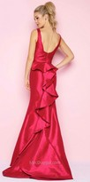 Mac Duggal Ruched Ruffle Back Taffeta Prom Dress