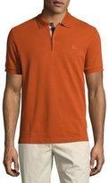 Burberry Short-Sleeve Oxford Polo Shirt, Dark Orange