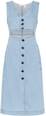 See by Chloe Cut-Out Denim Midi Dress