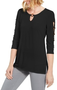 JM Collection Petite Ladder-Sleeve O-Ring Top, Created for Macy's