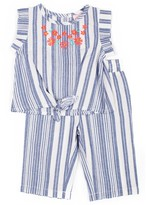 Little Lass Baby Girl 2-Piece Floral and Stripes Linen Coulotte Set