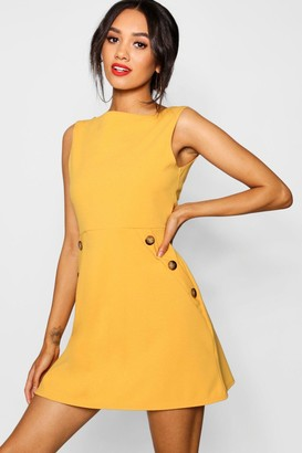 boohoo Petite Slash Neck Mock Horn Button Shift Dress
