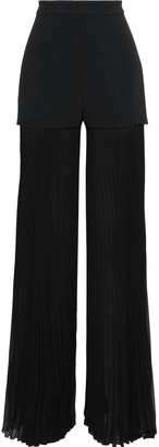 Emilio Pucci Crepe-paneled Pleated Chiffon Wide-leg Pants
