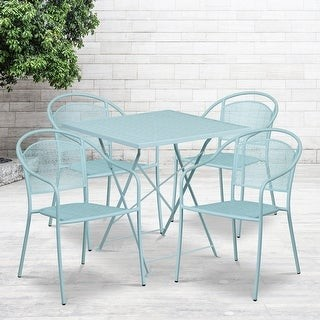 """Lancaster Home 28"""" Square Coral Indoor-Outdoor Steel Folding Patio Table Set with 4 Chairs"""