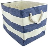 DII Woven Paper Textured Storage Basket, Collapsible & Convenient Storage Solution for Office, Bedroom, Closet, Toys, Laundry - Medium, Nautical Blue Stripe