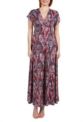 24/7 Comfort Apparel Women's Constance Multicolor Paisley Empire Waist Maxi Dress
