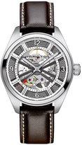 Hamilton men's automatic brown leather strap watch