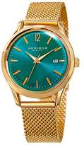 Akribos XXIV Women's Quartz Gold-Tone Case with Gold-Tone Accented Turquoise Sunray Dial on Gold-Tone Stainless Steel Mesh Bracelet Watch AK930TQ