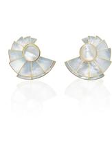 Monica Sordo Mother of Pearl Nautilus Earfan Double Earrings