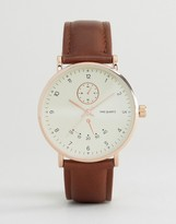 Asos Watch With Tan Strap And Classic Face With Subdials