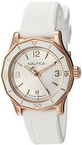 Nautica Women's 'NWS 01' Quartz Stainless Steel and Silicone Casual Watch, Color:White (Model: NAD13537L)