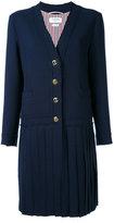 Thom Browne pleated detail cardi-coat - women - Wool/Spandex/Elastane/Silk - 38