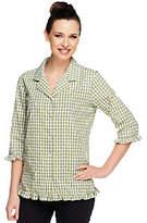 Denim & Co. Seersucker Gingham 3/4 Sleeve Ruffle Shirt