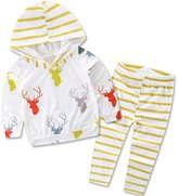 XUNYU 0-2T Unisex Baby Cotton Deer Hooded Hoodies Casual Pants Clothing Set Outfits