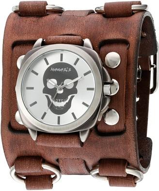 Nemesis 'Skull Head Series' Quartz Stainless Steel and Leather Watch Color:Brown (Model: BFWB935S)