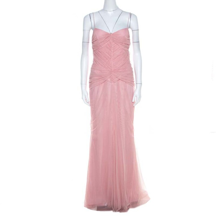 Thumbnail for your product : Vera Wang Blush Pink Ruched Tulle Sleeveless Evening Gown M