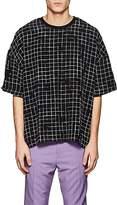 Haider Ackermann Men's Broken-Check Silk Boxy T-Shirt