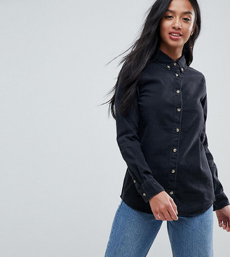 ASOS DESIGN Petite denim shirt in washed black