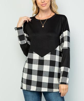 Celeste Women's Tunics IVORY/WHITE - Black & Ivory Plaid Contrast Long-Sleeve Tee - Plus