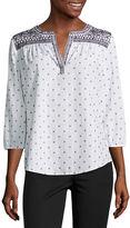 Liz Claiborne 3/4 Sleeve Split Crew Neck Embroidered Blouse