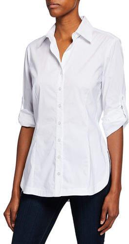 7c98da41 Polyester Spandex Button Long Sleeve Top - ShopStyle