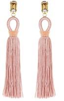 Oscar de la Renta Soft Petal Long Silk Tassel Earrings