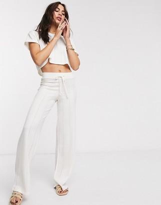 Bershka wide leg knit trousers in white