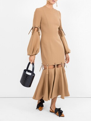 Sara Battaglia camel loop strap cut out dress neutral