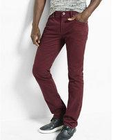 Express slim leg slim fit burgundy jeans