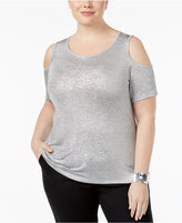 Calvin Klein Plus Size Metallic-Knit Cold-Shoulder Sweater