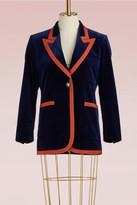 Gucci Stretch velvet jacket with grosgrain trim