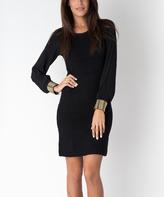 Yuka Paris Black Long-Sleeve Sheath Dress