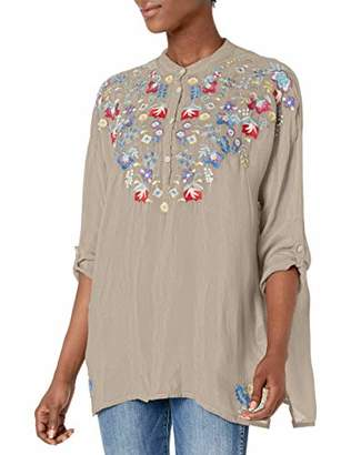 Johnny Was Women's Long Sleeve Blouse with Contrast Embroidery