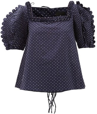 Horror Vacui Isabella Scalloped Swiss-dot Cotton Blouse - Navy