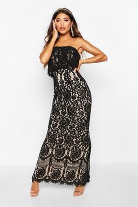 boohoo Boutique Scallop Lace Bandeau Maxi Dress
