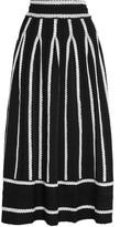 Maje Jamais Embroidered Stretch Jacquard-knit Skirt - Black