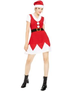 Planet Gold Juniors' Holiday Santa Sweater Dress & Hat