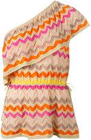 M Missoni zigzag single shoulder blouse - women - Cotton/Polyamide/Metallic Fibre - 42