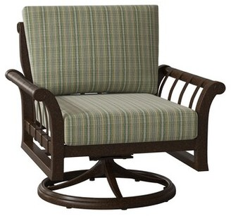 Mojito Woodard Rhyss Swivel Rocking Patio Dining Chair Woodard Cushion Color Wintergreen, Frame Color: Chestnut Brown