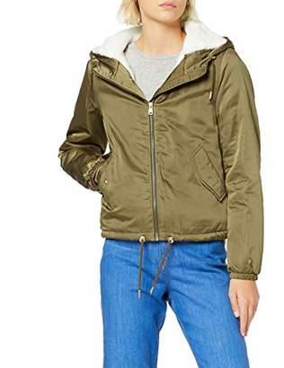 Only Women's Onlnew Cally Satin Short Fur Jacket OTW, Green Beech, S