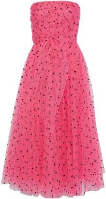 Carolina Herrera Strapless Pleated Flocked Tulle Gown
