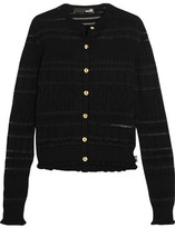 Love Moschino Pointelle-Trimmed Ribbed Wool-Blend Cardigan