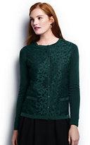 Lands' End Women's Petite Classic Supima Lace Pocket Cardigan Sweater-Harvest Pine